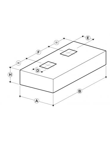 Cappa professionale centrale cubica inox con filtri a labirinto per cucine professionali cm 400x220x45h