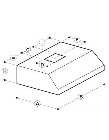 Cappa a parete con filtri a labirinto inox, completamente saldata e con illuminazione ad incasso cm 180x140x45hc