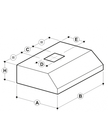 Cappa a parete con filtri a labirinto inox, completamente saldata e con illuminazione ad incasso cm 240x140x45hc