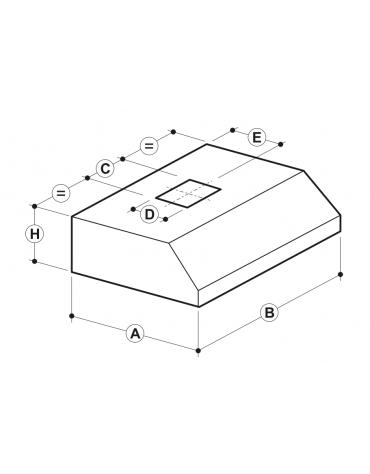 Cappa a parete con aspiratore incorporato, filtri a labirinto inox, completamente saldata, illum. ad incasso cm 200x140x45h