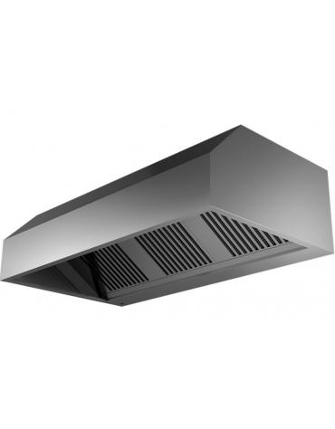 Cappa a parete con aspiratore incorporato, filtri a labirinto inox, completamente saldata, illum. ad incasso cm 280x140x45h