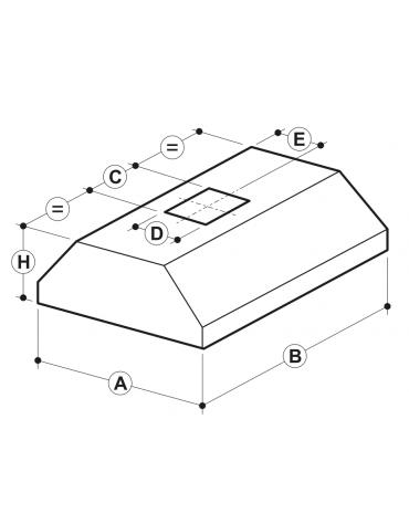 Cappa centrale con filtri a labirinto inox, completamente saldata e con illuminazione ad incasso cm 200x220x45h