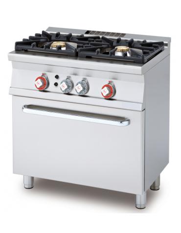 Cucina a gas 2 fuochi su forno a gas statico con grill, camera cm 67x38x34h, 1 griglia - cm 80x55x90h