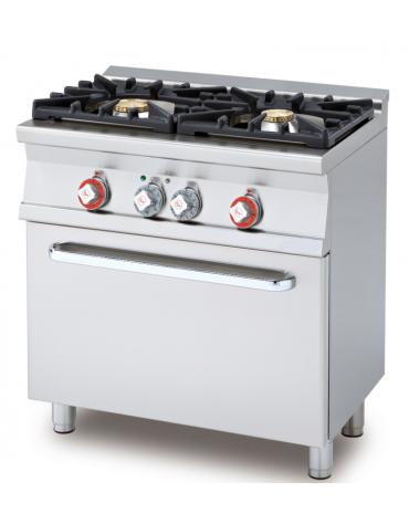 Cucina a gas 2 fuochi su forno elettrico statico con grill, camera cm 67x38x34h, 1 griglia - cm 80x55x90h