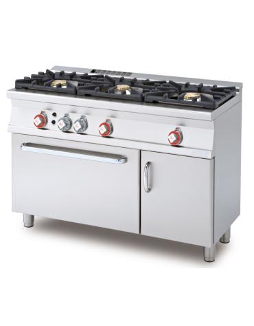 Cucina a gas 3 fuochi su forno a gas statico con grill, camera cm 67x38x34h, 1 griglia - cm 120x55x90h