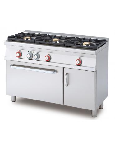 Cucina a gas 3 fuochi su forno elettrico statico con grill, camera cm 67x38x34h, 1 griglia - cm 120x55x90h