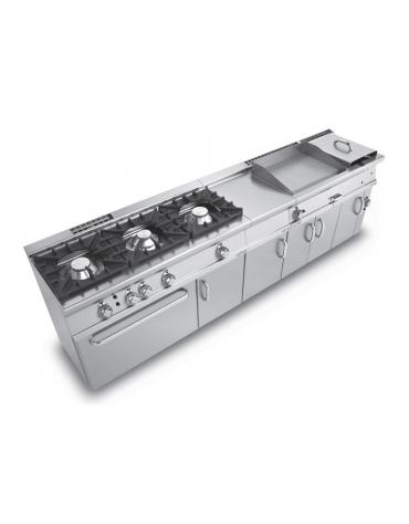 Piano di lavoro in acciaio inox CrNi 18/10 AISI 304 su mobile con alzatina, dotato di piedini regolabili  - cm 40x55x90h