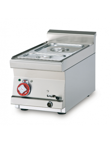 Bagnomaria a gas da banco in acciaio inox CrNi 18/10 AISI 304, 1 vasca GN1/2+GN1/3  cm 40x 60x 28h