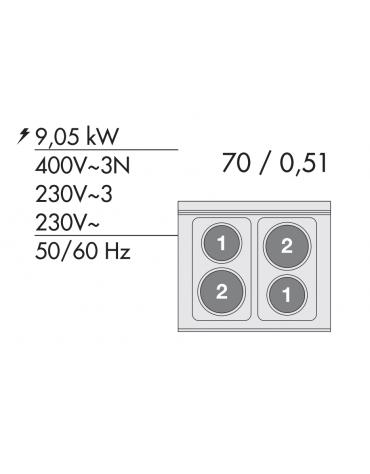 Cucina elettrica trifase-9,5kw, 4 piastre, forno elettrico multifunzione con camera cm 46x37x35h, porta in vetro - cm 60x60x90h