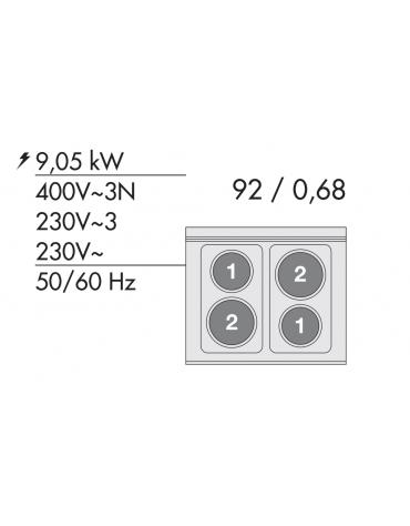 Cucina elettrica trifase-9,05kw, 4 piastre, forno elettrico multifunzione con camera cm 64x37x35h, porta in vetro - cm 80x60x90h