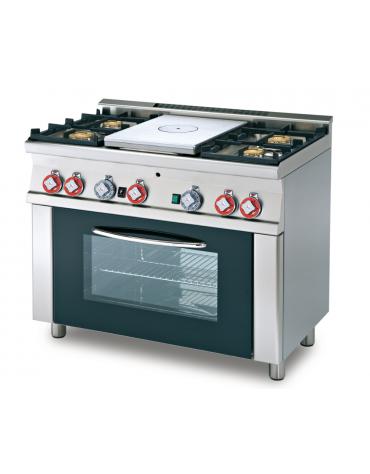 Cucina tuttopiastra a gas 4 fuochi 1 piastra, forno a gas statico con grill, porta in vetro, camera cm 64x39x35h - cm 100x60x90h