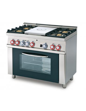 Cucina tuttopiastra a gas 4 fuochi 1 piastra, forno elettrico statico, porta in vetro, camera cm 64x42x35h - cm 100x60x90h