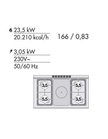 Cucina tuttopiastra a gas 4 fuochi 1 piastra, forno elettrico multifunzione, porta in vetro, camera cm 64x37x35h - cm 100x60x90h