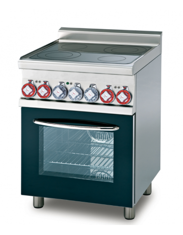 Cucina con piano in vetroceramica, forno elettrico multifunzione, porta in vetro, camera cm 46x37x35h - cm 60x60x90h