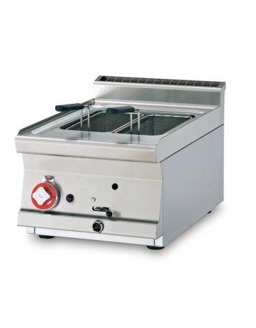 Cuocipasta a gas da banco, 1 vasca, in acciaio CrNi 18/10 AISI 304 da 13 litri di capacità - cm 40x60x28h