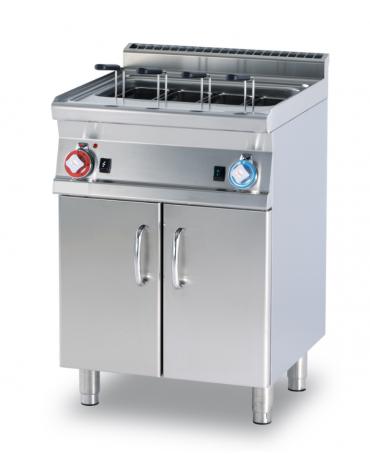 Cuocipasta a gas elett. su mobile, 1 vasca, inox AISI 304 da 40 litri di capacità, rubinetto carico acqua - cm 60x60x90h