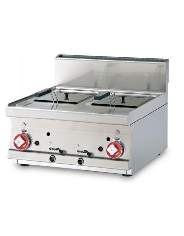 Friggitrice a gas da banco - 2 vasche cm 22x27,5x22h con filtro e coperchio - 8+8Lt. - cm 60x60x28h