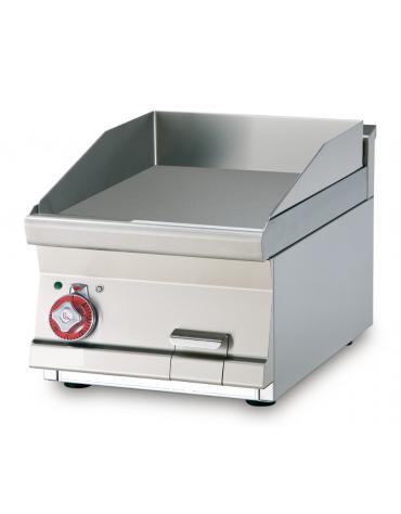 Fry top elettrico trifase-4,5kw da banco, piastra liscia, r. temp. 50 a 300 °C - dim. 40x60x28h