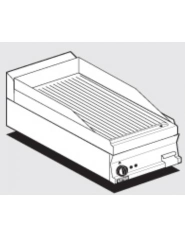 Fry top elettrico trifase-4,5kw da banco, piastra rigata, r. temp. 50 a 300 °C - dim. 40x60x28h