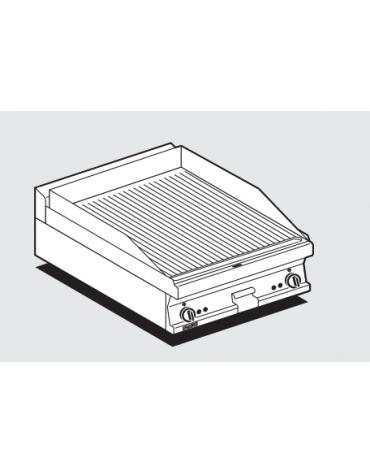Fry top elettrico trifase-6,75kw da banco, piastra rigata doppia, r. temp. 50 a 300 °C - dim. 60x60x28h