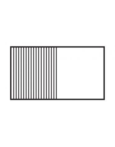 Fry top elettrico trifase-9kw da banco, piastra doppia 1/2 liscia - 1/2 rigata cm 79,5x45, r. temp. 50 a 300 °C - dim. 80x60x28h