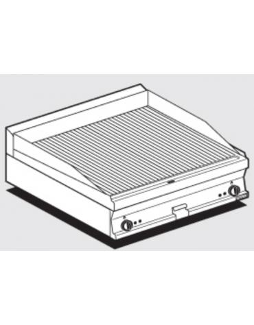 Fry top elettrico trifase-9kw da banco, piastra rigata doppia cm 79,5x45, r. temp. 50 a 300 °C - dim. 80x60x28h