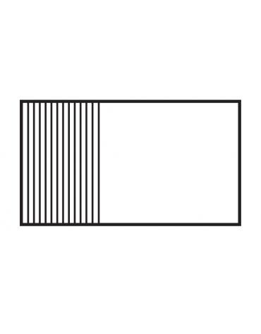 Fry top elett. trifase-11,25kw da banco, piastra 2/3 liscia - 1/3 rigata cm 99,5x45, r. temp. 50 a 300 °C - dim. 100x60x28h
