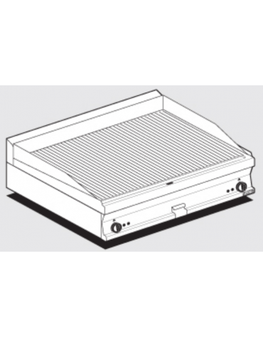Fry top elettrico trifase-11,25kw da banco, piastra rigata doppia cm 99,5x45, r. temp. 50 a 300 °C - dim. 100x60x28h
