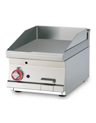 Fry top a gas da banco, 6 kw, piastra liscia cromata, consumo gas 0,181m³/h - sup. di cottura cm 39,5x45  - cm 40x60x28h