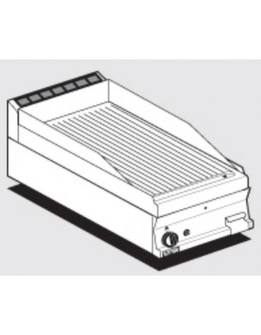 Fry top a gas da banco, 6 kw, piastra rigata cromata, consumo gas 0,181m³/h - sup. di cottura cm 39,5x45  - cm 40x60x28h