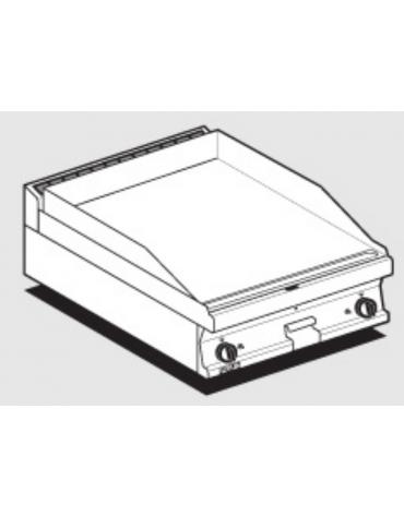 Fry top a gas da banco, 9 kw, piastra doppia liscia, consumo gas 0,265m³/h - sup. di cottura cm 59,5x45  - cm 60x60x28h