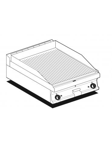 Fry top a gas da banco, 9 kw, piastra doppia cromata rigata, consumo gas 0,265m³/h - sup. di cottura cm 59,5x45  - cm 60x60x28h