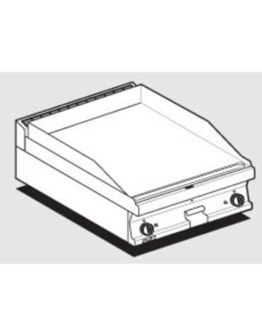 Fry top a gas da banco, 12 kw, piastra doppia liscia, consumo gas 0,349m³/h - sup. di cottura cm 59,5x45  - cm 80x60x28h