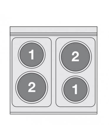 Piano di cottura elettrico in acciaio inox CrNi 18/10 AISI 304 - trifase-6kw, 4 piastre - cm 60x60x28h
