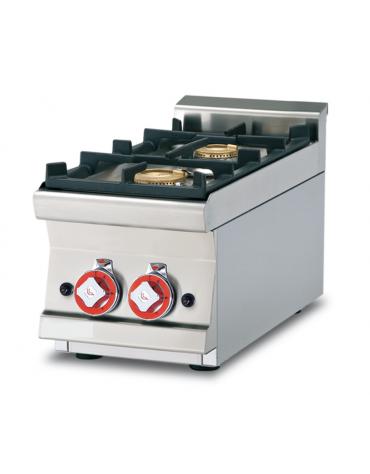 Piano di cottura in acciaio inox CrNi 18/10 AISI 304 a gas 2 fuochi - potenza gas: 9 kW - 7.740 kcal/h - cm 30x60x28h