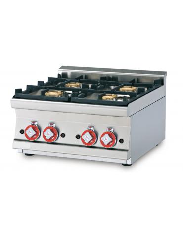 Piano di cottura in acciaio inox CrNi 18/10 AISI 304 a gas 2 fuochi - potenza gas: 18 kW - 15.480 kcal/h - cm 60x60x28h