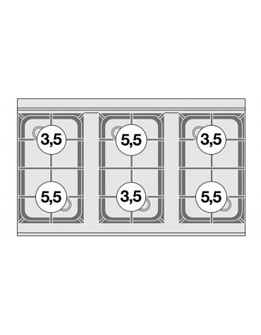 Piano di cottura in acciaio inox CrNi 18/10 AISI 304 a gas 6 fuochi - potenza gas: 27 kW - 23.220 kcal/h - cm 100x60x28h