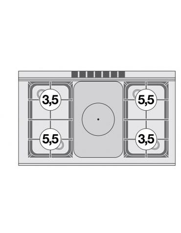 Piano di cottura in acciaio inox CrNi 18/10 AISI 304 a gas 6 fuochi + tuttopiastra cm 37x50 - cm 100x60x28h