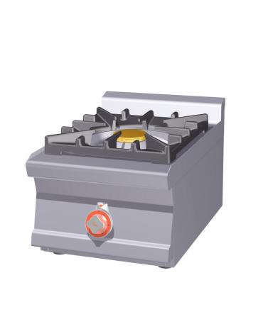 Piano di cottura in acciaio inox CrNi 18/10 AISI 304 a gas 1 fuoco - potenza gas: 10 kW - 8.600 kcal/h - cm 40x60x28h