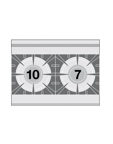 Piano di cottura in acciaio inox CrNi 18/10 AISI 304 a gas 2 fuochi - potenza gas: 17 kW - 14.620 kcal/h - cm 80x60x28h