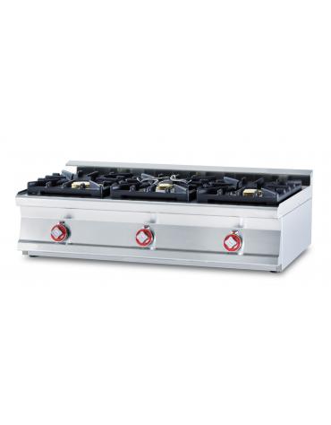 Piano di cottura in acciaio inox CrNi 18/10 AISI 304 a gas 3 fuochi - potenza gas: 27 kW - 23.220 kcal/h - cm 120x60x28h