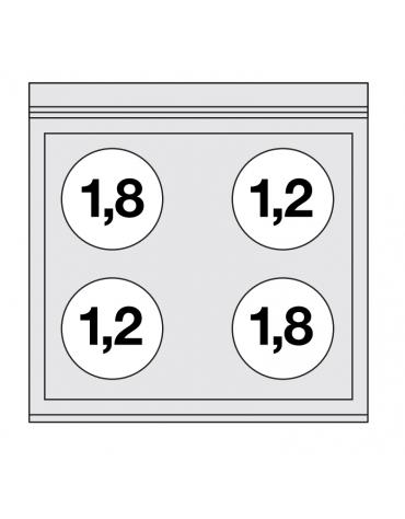 Piano di cottura elettrico trifase-6kw, con 4 piani di cottura in vetroceramica - cm 60x60x28h