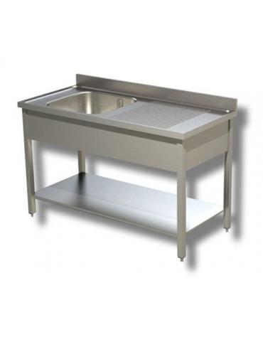 Lavello inox con ripiano 1 vasca + gocciolatoio cm.130x70x90h