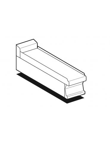 Piano di lavoro in acciaio inox CrNi 18/10 AISI 304 con alzatina posteriore, senza cassetto - cm 20x60x28h