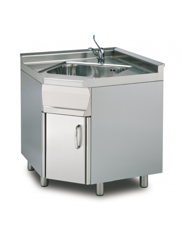 Lavello ad angolo su mobile in acciaio inox CrNi 18/10 AISI 304 - 1 vasca, rubinetto a leva, 1 vano - cm.80÷80x 60x 90h