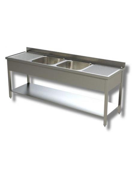 Lavello inox con ripiano 2 vasche+2 gocciolato cm.210x70x85h ...