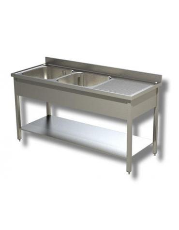 Lavello inox con ripiano 2 vasche+ gocciolato cm.170x70x85h