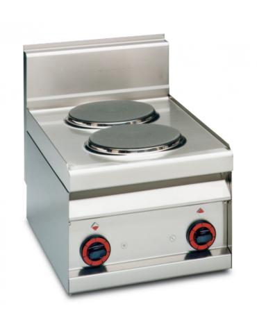 Piano di cottura elettrico in acciaio inox CrNi 18/10 AISI 304 - trifase-4kw, 2 piastre - cm 40x65x29h