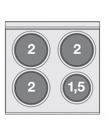 Piano di cottura elettrico in acciaio inox CrNi 18/10 AISI 304 - trifase-7,5kw, 4 piastre - cm 60x65x29h