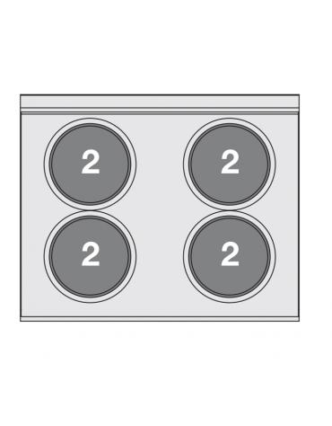 Piano di cottura elettrico in acciaio inox CrNi 18/10 AISI 304 - trifase-8kw, 4 piastre - cm 80x65x29h